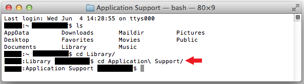 Terminal_cd_ApplicationSupport
